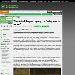 "Glauber Kotaki's Blog - The Art of Rogue Legacy, or ""why less is more"""