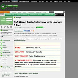 George Hufnagl's Blog - 3x5 Game Audio Interview with Leonard J Paul