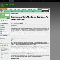 Instrumentation: The Game Composer's New Challenge