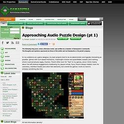 Rodain Joubert's Blog - Approaching Audio Puzzle Design (pt 1)