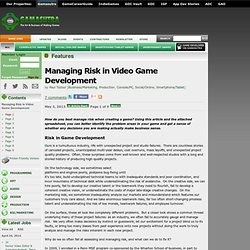 Managing Risk in Video Game Development
