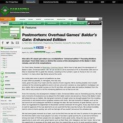 Défis de développement : baldur's Gate Enhanced Edition