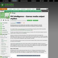 Thomas Bidaux's Blog - PR Intelligence – Games media output rhythm