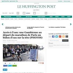 Accès à l'eau: une Gambienne au départ du marathon de Paris un bidon d'eau sur la tête