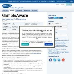 GambleAware PhD Programme at GambleAware
