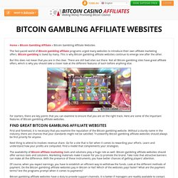 Bitcoin Gambling Affiliate Websites - Look for the Best Program