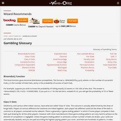 Gambling Glossary