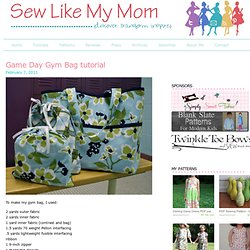Game Day Gym Bag tutorial - Sew Like My Mom