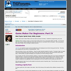 Game Maker For Beginners: Part IV