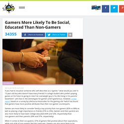 Gamers More Likely To Be Social, Educated Than Non-Gamers