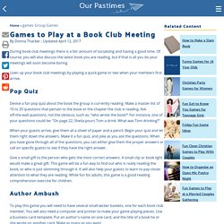 Games to Play at a Book Club Meeting