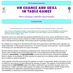 Gamester: Chance & skill in games
