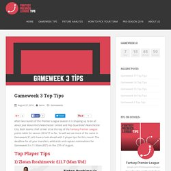 Gameweek 3 Top Tips