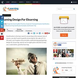 Gaming Design For Elearning