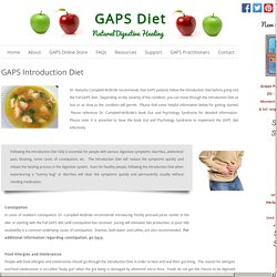 GAPS Introduction Diet