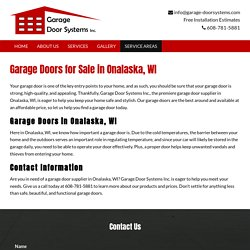 Garage Doors for Sale in Onalaska, WI