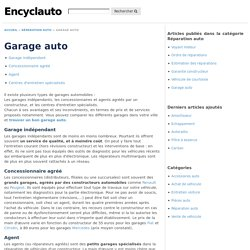 Garage auto - L'Encyclopédie de l'automobile