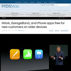 iWork, GarageBand, and iMovie apps free for new customers on older devices