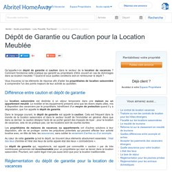 Depot de Garantie et Caution Location Meublée