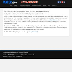 Garbage Disposal Katy,Houston . Garbage Disposal Installation Katy,TX