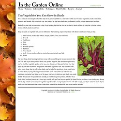 In the Garden Online - Colleen's Picks - Ten Vegetables You Can Grow in Shade