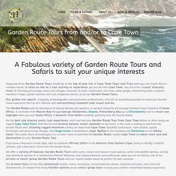 Garden Route Tours from and/or to Cape Town -