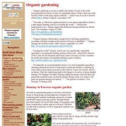 Organic gardening: Journey to Forever organic garden - square foot gardening, container gardening, how to grow healthy food anywhere - StumbleUpon