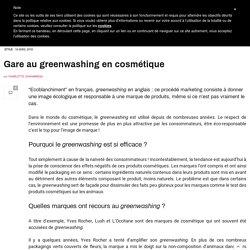 Gare au greenwashing en cosmétique