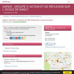 GAREN - GROUPE D' ACTION ET DE RÉFLEXION SUR L' ECOLE DE NANCY - NANCY