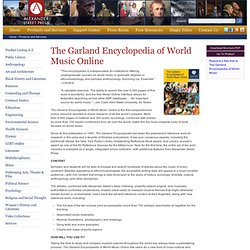 The Garland Encyclopedia of World Music Online