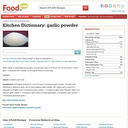 Garlic Powder - Kitchen Dictionary - Food.com