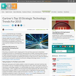 Gartner's Top 10 Strategic Technology Trends For 2015