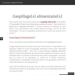 Gaspillage{s} alimentaire{s}