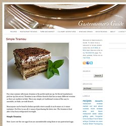 Gastronomer's Guide: Simple Tiramisu