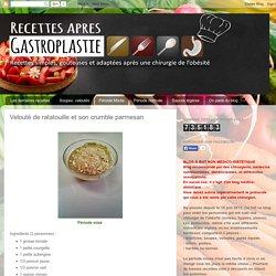 Recettes de cuisine après une gastroplastie: Velouté de ratatouille et son crumble parmesan