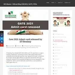 GATE 2021 Admit card has been released by IIT Bombay