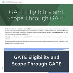 GATE Eligibility and Scope