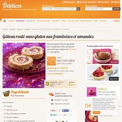 Gâteau roulé sans gluten aux framboises et amandes