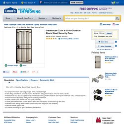 "Shop Gatehouse Gibraltar 32"" Black Steel Security Screen Door at Lowes"
