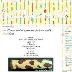 Biscuit roulé dessiné comme une girafe au nutella croustillant