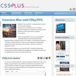 Gaussian Blur and CSS3/SVG - CSS-Plus