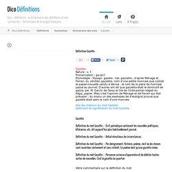 Gazette : Définition Gazette