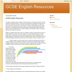 GCSE English Resources: GCSE English Resources