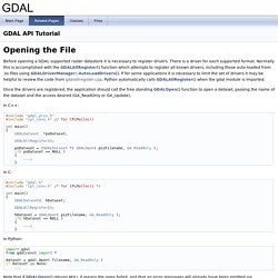 GDAL API Tutorial