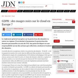 GDPR : des nuages noirs sur le cloud en Europe ?