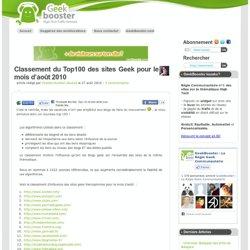Classement du Top100 des sites Geek pour le mois d'août 2010