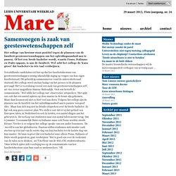 'Samenvoegen is zaak van geesteswetenschappen zelf' 2012/03/28/