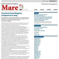 Geesteswetenschappen: compenseren mag 2012/02/08