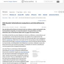 NSA-Skandal: Geheimdienste manipulieren und diskreditieren im Netz