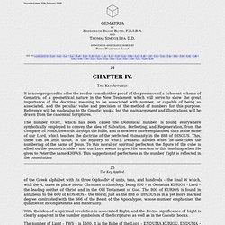 GEMATRIA Chapter IV